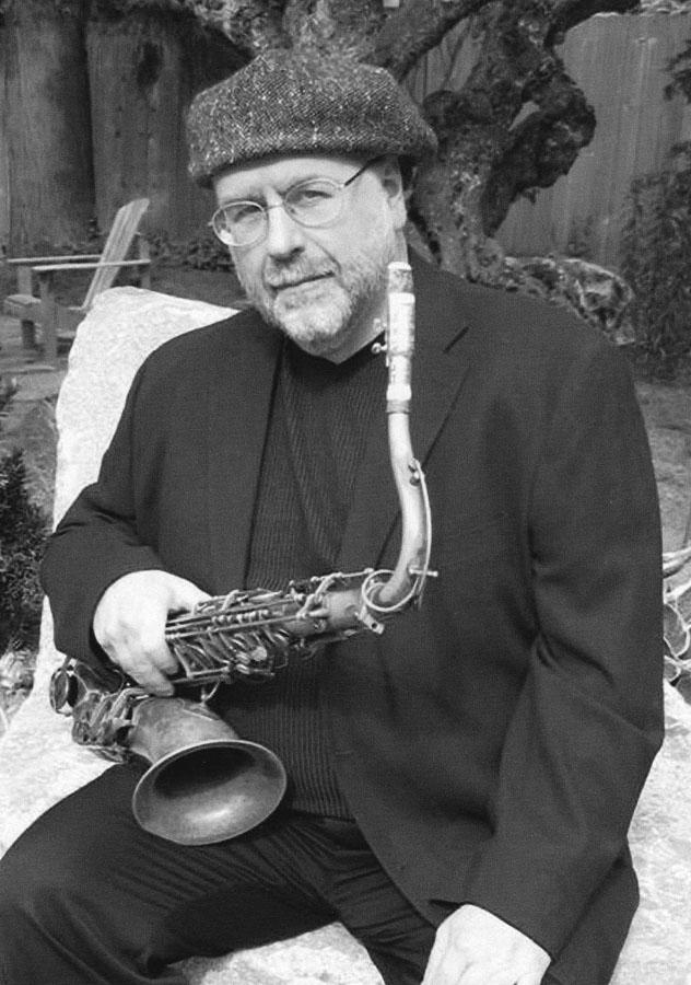 Jon Goforth with his saxophone.
