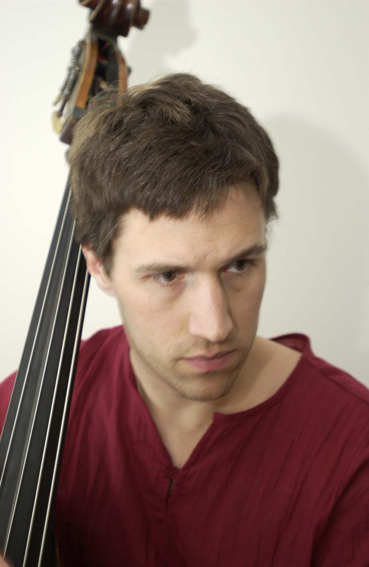 Joshua Davis with his upright bass.