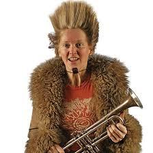 Yngvil Vatn Guttu holding her trumpet.